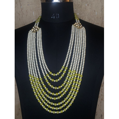 S H A H I T A J Designer Mala/Kanthla Yellow with White for Weddings/Groom Dress or Sherwani (OS936)-ST1056