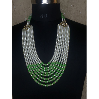 S H A H I T A J Designer Mala/Kanthla Green with White for Weddings/Groom Dress or Sherwani (OS938)-ST1058