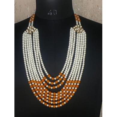 S H A H I T A J Designer Mala/Kanthla Orange with White for Weddings/Groom Dress or Sherwani (OS939)-ST1059