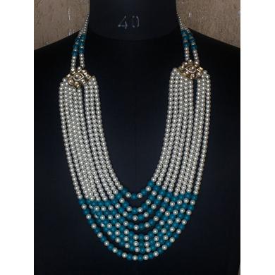 S H A H I T A J Designer Mala/Kanthla Firozi with White for Weddings/Groom Dress or Sherwani (OS940)-ST1060