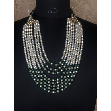 S H A H I T A J Designer Mala/Kanthla Green with White for Weddings/Groom Dress or Sherwani (OS941)-ST1061