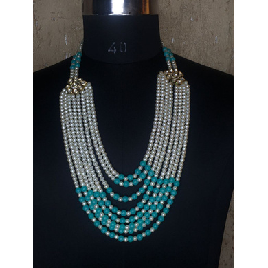 S H A H I T A J Designer Mala/Kanthla Aqua Blue with White for Weddings/Groom Dress or Sherwani (OS942)-ST1062