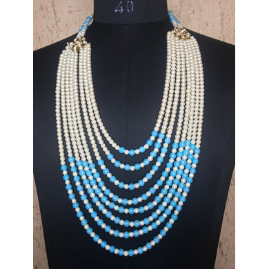 S H A H I T A J Designer Mala/Kanthla Turquoise with White for Weddings/Groom Dress or Sherwani (OS943)-ST1063