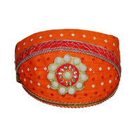 S H A H I T A J Traditional Rajasthani Cotton Orange Bandhej Mewadi Pagdi or Turban for Kids and Adults (MT944)