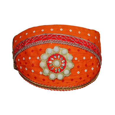 S H A H I T A J Traditional Rajasthani Cotton Orange Bandhej Mewadi Pagdi or Turban for Kids and Adults (MT944)-ST1064_18andHalf