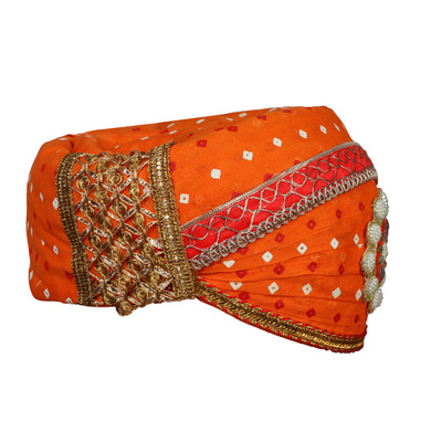 S H A H I T A J Traditional Rajasthani Cotton Orange Bandhej Mewadi Pagdi or Turban for Kids and Adults (MT944)-18-3