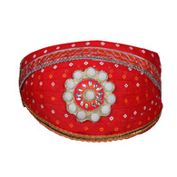 S H A H I T A J Traditional Rajasthani Cotton Red Bandhej Mewadi Pagdi or Turban for Kids and Adults (MT945)