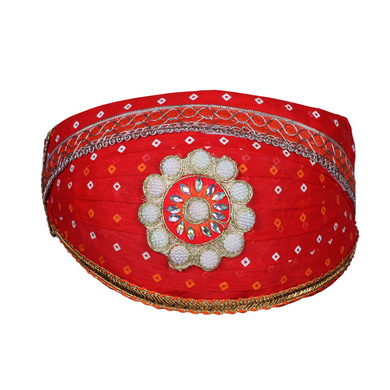 S H A H I T A J Traditional Rajasthani Cotton Red Bandhej Mewadi Pagdi or Turban for Kids and Adults (MT945)-ST1065_21andHalf