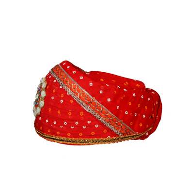 S H A H I T A J Traditional Rajasthani Cotton Red Bandhej Mewadi Pagdi or Turban for Kids and Adults (MT945)-18-3