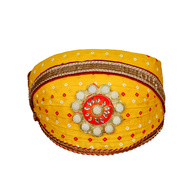 S H A H I T A J Traditional Rajasthani Cotton Yellow Bandhej Mewadi Pagdi or Turban for Kids and Adults (MT946)