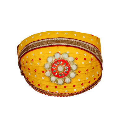 S H A H I T A J Traditional Rajasthani Cotton Yellow Bandhej Mewadi Pagdi or Turban for Kids and Adults (MT946)-ST1066_21andHalf