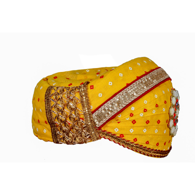 S H A H I T A J Traditional Rajasthani Cotton Yellow Bandhej Mewadi Pagdi or Turban for Kids and Adults (MT946)-18-3
