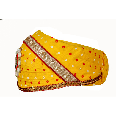S H A H I T A J Traditional Rajasthani Cotton Yellow Bandhej Mewadi Pagdi or Turban for Kids and Adults (MT946)-18-4