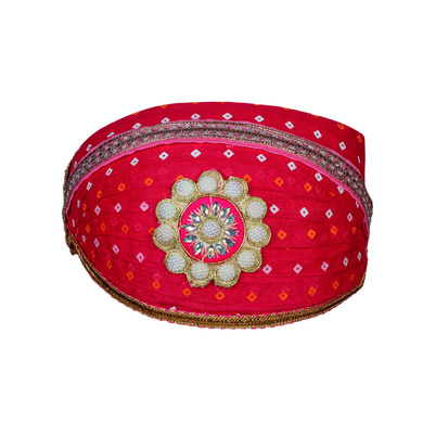 S H A H I T A J Traditional Rajasthani Cotton Rani Bandhej Mewadi Pagdi or Turban for Kids and Adults (MT947)-ST1067_18andHalf
