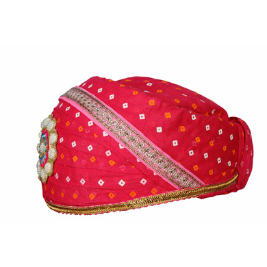 S H A H I T A J Traditional Rajasthani Cotton Rani Bandhej Mewadi Pagdi or Turban for Kids and Adults (MT947)-18-4