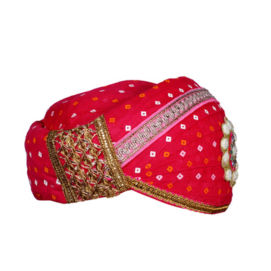 S H A H I T A J Traditional Rajasthani Cotton Rani Bandhej Mewadi Pagdi or Turban for Kids and Adults (MT947)-18-3