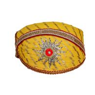 S H A H I T A J Traditional Rajasthani Cotton Yellow Lehariya Mewadi Pagdi or Turban for Kids and Adults (MT948)