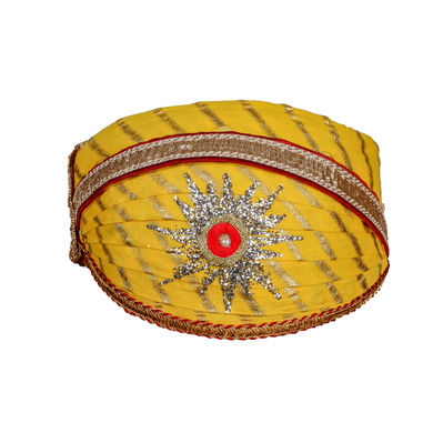 S H A H I T A J Traditional Rajasthani Cotton Yellow Lehariya Mewadi Pagdi or Turban for Kids and Adults (MT948)-ST1068_19andHalf