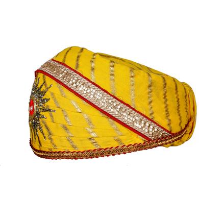 S H A H I T A J Traditional Rajasthani Cotton Yellow Lehariya Mewadi Pagdi or Turban for Kids and Adults (MT948)-18-4