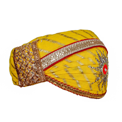 S H A H I T A J Traditional Rajasthani Cotton Yellow Lehariya Mewadi Pagdi or Turban for Kids and Adults (MT948)-18-3