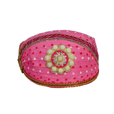 S H A H I T A J Traditional Rajasthani Cotton Pink Bandhej Mewadi Pagdi or Turban for Kids and Adults (MT949)-ST1069_20andHalf