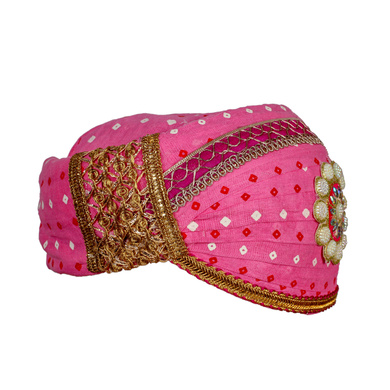 S H A H I T A J Traditional Rajasthani Cotton Pink Bandhej Mewadi Pagdi or Turban for Kids and Adults (MT949)-18-3