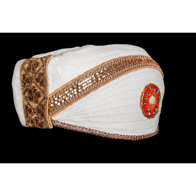 S H A H I T A J Traditional Rajasthani Cotton White Mewadi Bohra Pagdi or Turban for Kids and Adults (MT951)-18-3