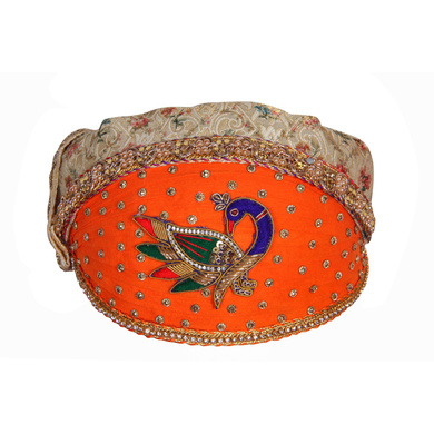 S H A H I T A J Traditional Rajasthani Cotton with Silk Mewadi Barati Multi-Colored Pagdi or Turban for Kids and Adults (MT952)-ST1072_19andHalf