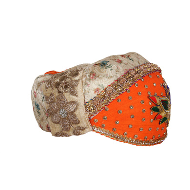 S H A H I T A J Traditional Rajasthani Cotton with Silk Mewadi Barati Multi-Colored Pagdi or Turban for Kids and Adults (MT952)-18-3