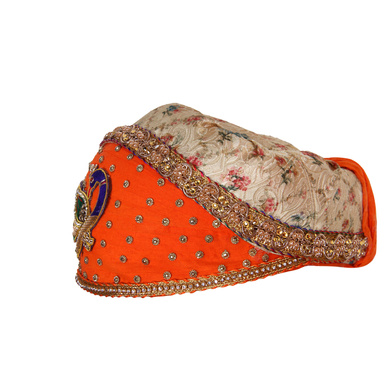 S H A H I T A J Traditional Rajasthani Cotton with Silk Mewadi Barati Multi-Colored Pagdi or Turban for Kids and Adults (MT952)-18-4