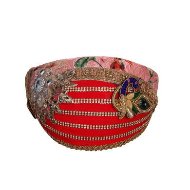 S H A H I T A J Traditional Rajasthani Cotton with Silk Mewadi Barati Multi-Colored Pagdi or Turban for Kids and Adults (MT953)-ST1073_19andHalf
