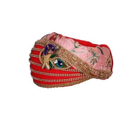 S H A H I T A J Traditional Rajasthani Cotton with Silk Mewadi Barati Multi-Colored Pagdi or Turban for Kids and Adults (MT953)-18-3