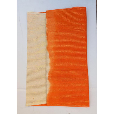 S H A H I T A J Traditional Rajasthani Orange & Cream Barati/Groom/Social Occasions Straight Line Zari Cotton Pagdi Safa Turban or Pheta Cloth for Kids and Adults (Bulk Purchase) (CT593)-Pack of 1 (For Kids to Adults)-1