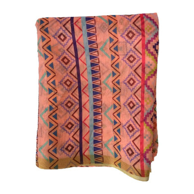 S H A H I T A J Traditional Rajasthani Aztec Print Faux Silk Peach Barati/Groom/Social Occasions Turban Safa Pagdi Pheta Cloth for Kids and Adults (Bulk Purchase) (CT376)-Pack of 1 (For Kids to Adults)-1