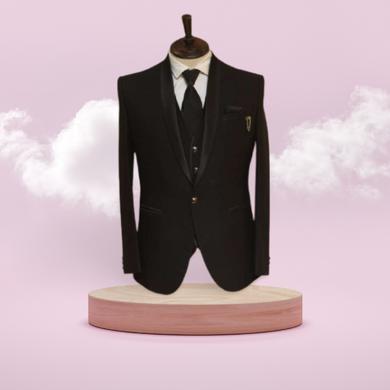 S H A H I T A J Traditional Barati/Groom/Social Occasions Black Self-Design Slim Fit 5-Piece (MW954)-ST1075_40