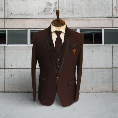 S H A H I T A J Traditional Barati/Groom/Social Occasions Maroon Self-Design Slim Fit 5-Piece Suit (MW956)-ST1077_38