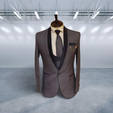 S H A H I T A J Traditional Barati/Groom/Social Occasions Grey Self-Design Slim Fit 5-Piece Suit (MW957)-ST1078_36