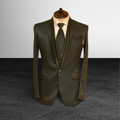 S H A H I T A J Traditional Barati/Groom/Social Occasions Dark Green Self-Design Slim Fit 5-Piece Suit (MW958)-ST1079_38