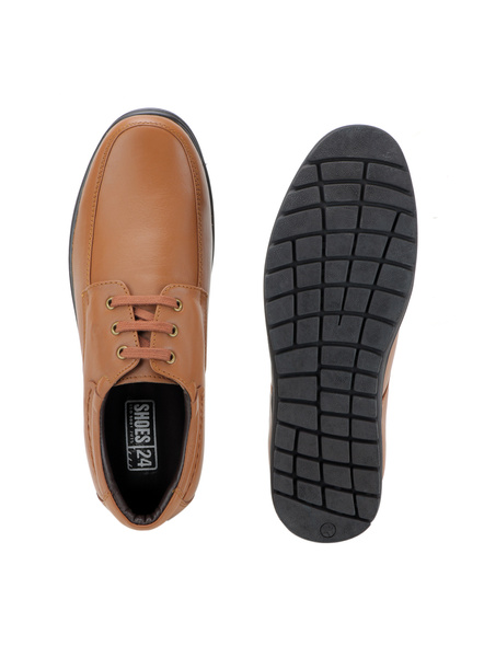 Black Leather Derby Formal SHOES24-10-Tan-2