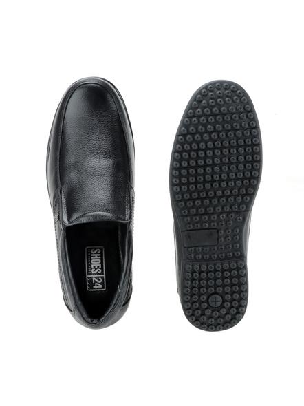 Black Leather Moccasion Formal SHOES24-Black-6-5