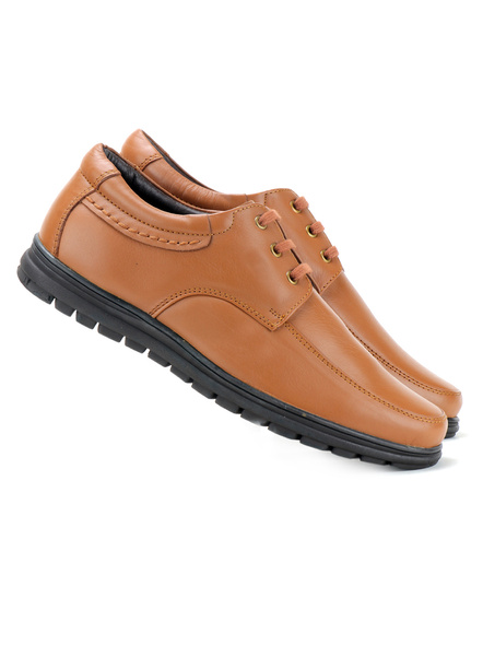 Black Leather Derby Formal SHOES24-9-Tan-7