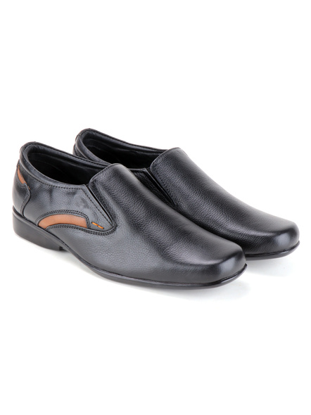 Black Leather Moccasion Formal SHOES24-Black-12-6