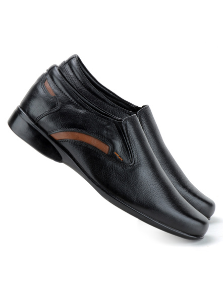 Black Leather Moccasion Formal SHOES24-Black-8-3