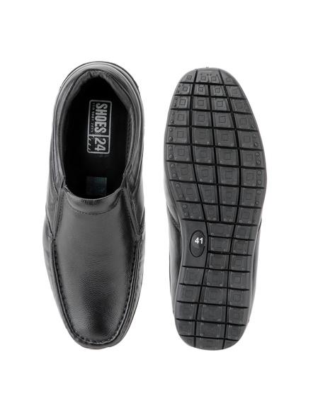 Black Leather Moccasion Formal SHOES24-Black-10-5