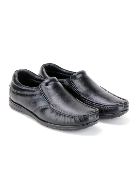 Black Leather Moccasion Formal SHOES24-Black-6-6