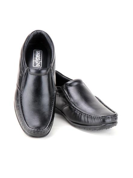 Black Leather Moccasion Formal SHOES24-Black-6-7
