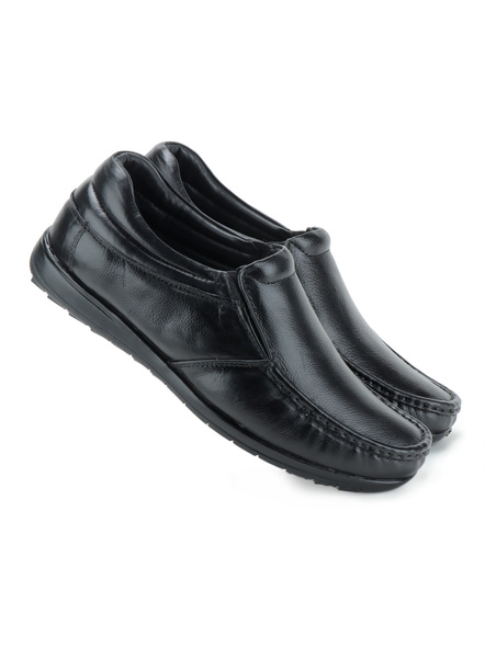 Black Leather Moccasion Formal SHOES24-Black-8-4