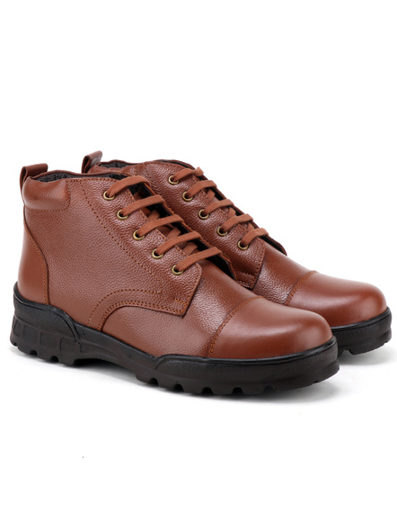Tan Leather Police Boot SHOES24-Tan-7-3