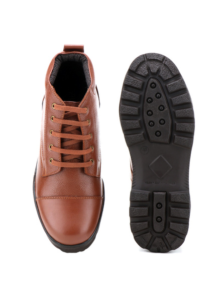 Tan Leather Police Boot SHOES24-Tan-9-4