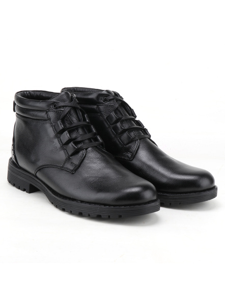 Black Leather Boot SHOES24-Black-6-2